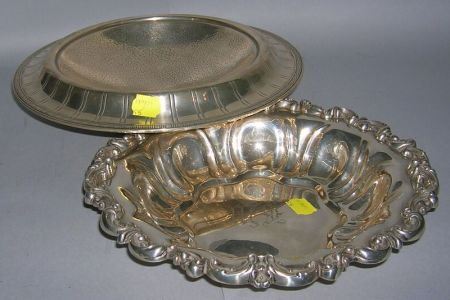 Webster Hand Hammered Sterling Silver Compote and a Meriden Britannia Co. Rococo-style Sterling Silver Bread Bowl.