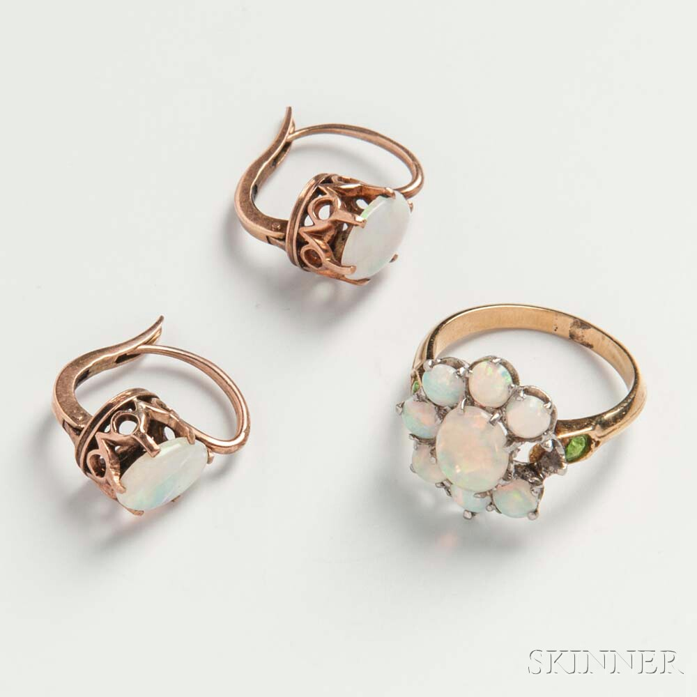14kt Gold and Opal Ring and Earrings