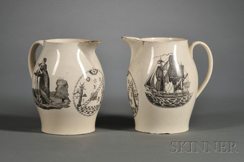 Pair of Transfer-decorated Liverpool Pottery Creamware Pitchers