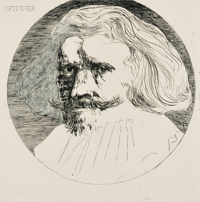 Leonard Baskin (American, 1922-2000)      Three Artist Portraits:  Hercules Seghers, Dutch 1585-1645