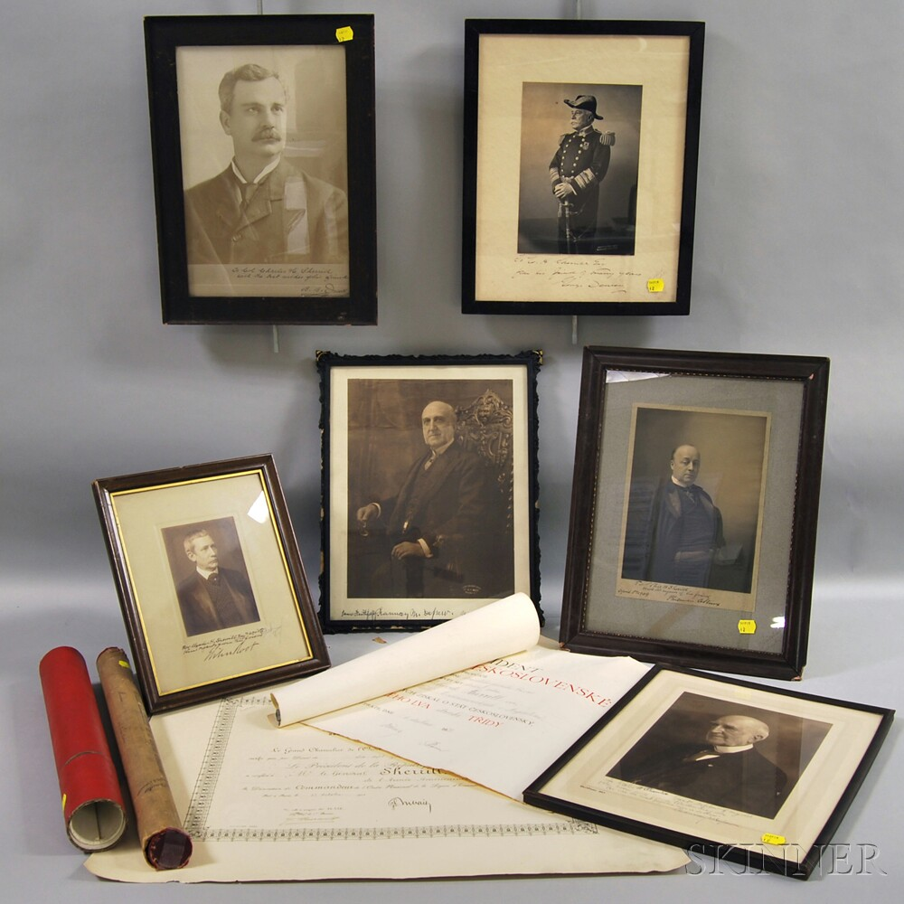 Signed Photographs and Rolled Documents.