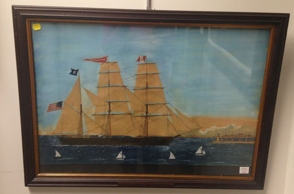 Maltese School, 19th Century      Portrait of the American Merchant Ship Brunswick   Entering Malta.