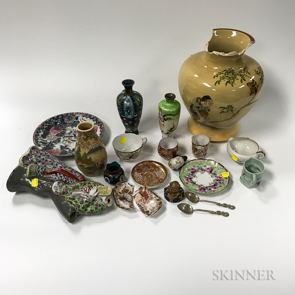 Eighteen Mostly Chinese Decorative Ceramic and Cloisonne Items