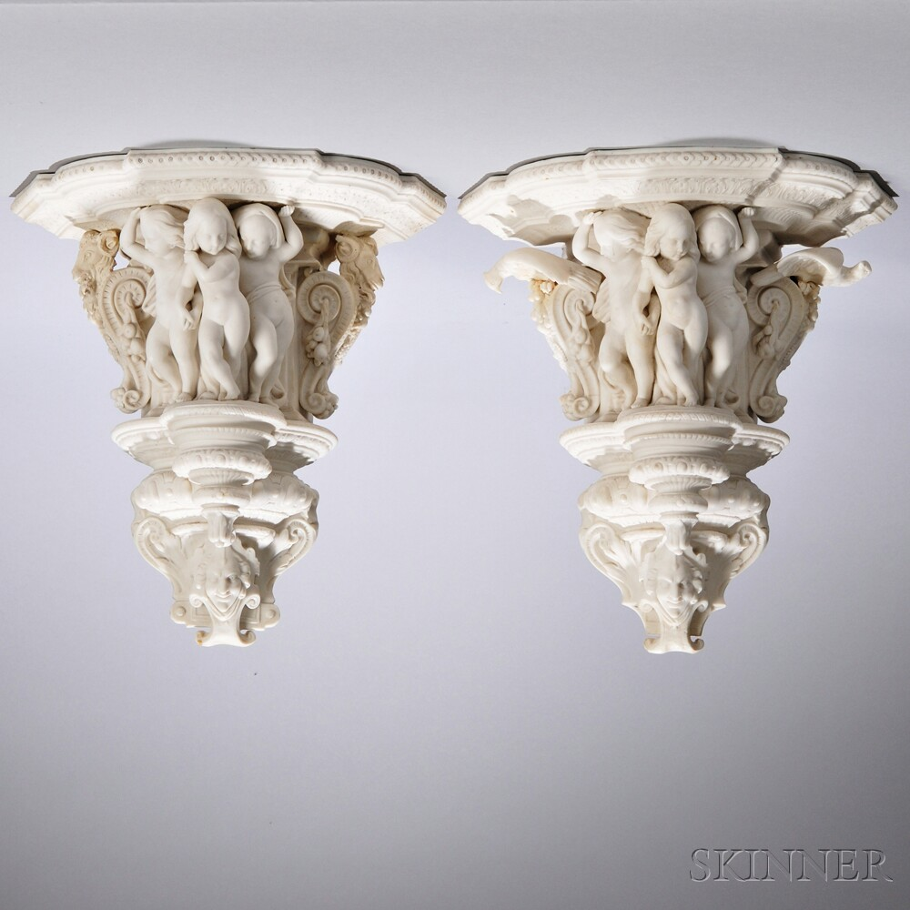 Pair of Mintons Parian Wall Brackets
