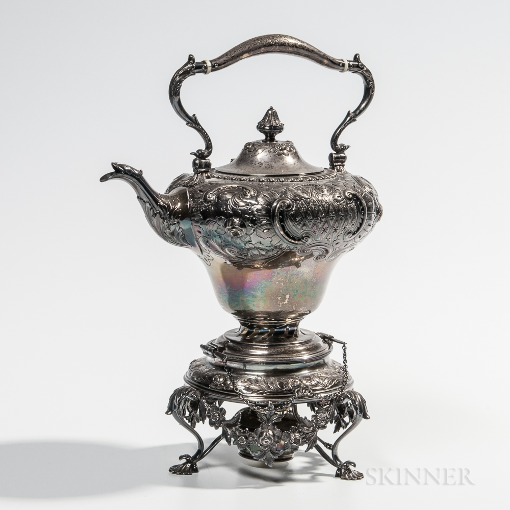 Taylor & Lawrie Coin Silver Kettle-on-Stand