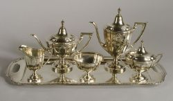 "Wallace Sterling ""Princess Anne"" Six Piece Tea and Coffee Service"