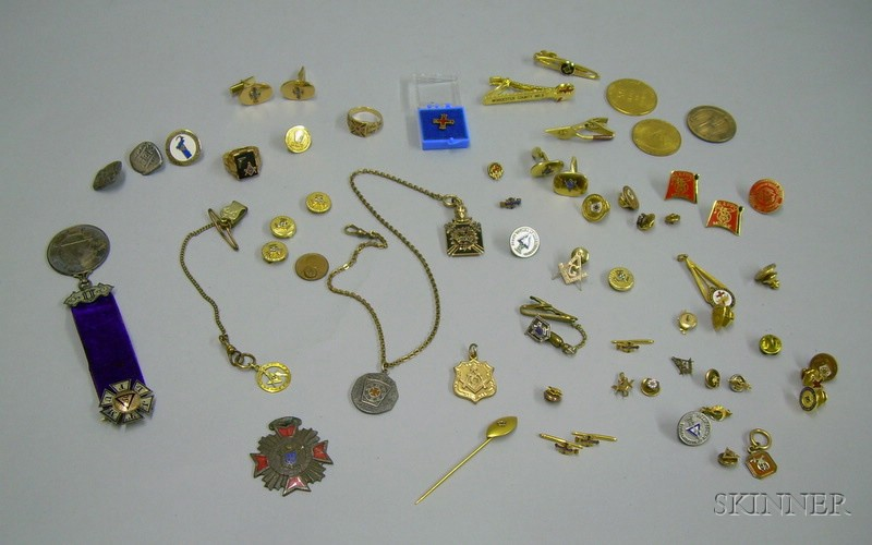 Large Group of Masonic and Fraternal Jewelry and Other Items