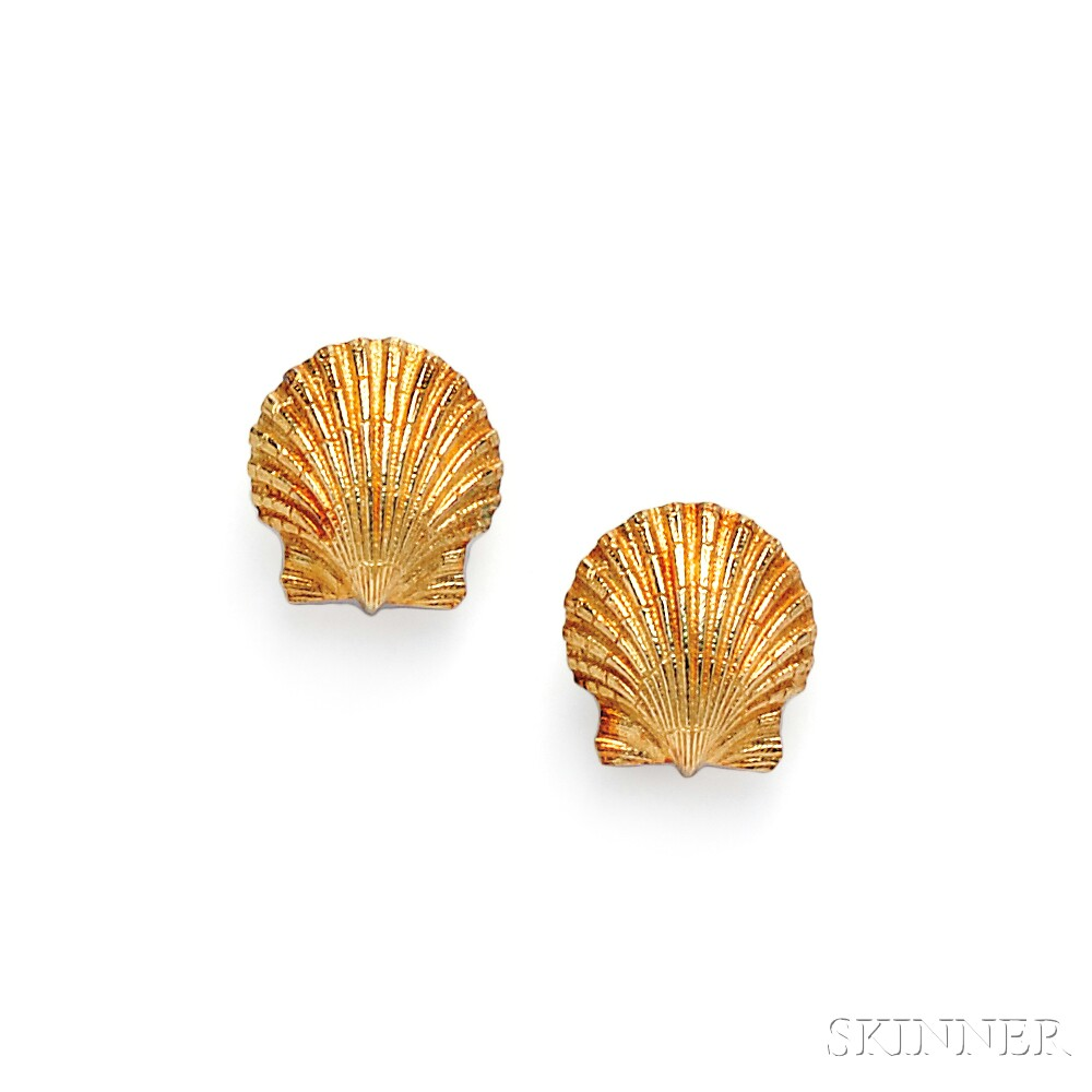 18kt Gold Scallop Shell Earclips, Schlumberger, Tiffany &  Co.