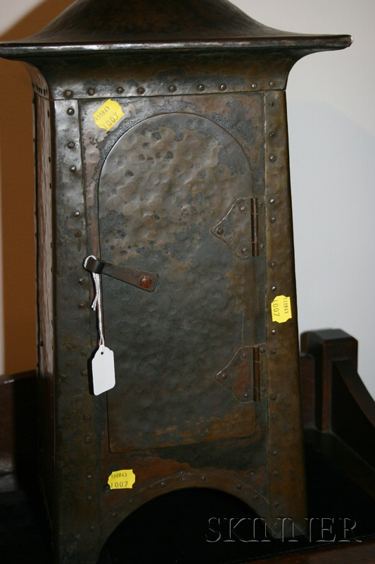 Arts and Crafts Hammered Copper and Pewter Mantel Clock