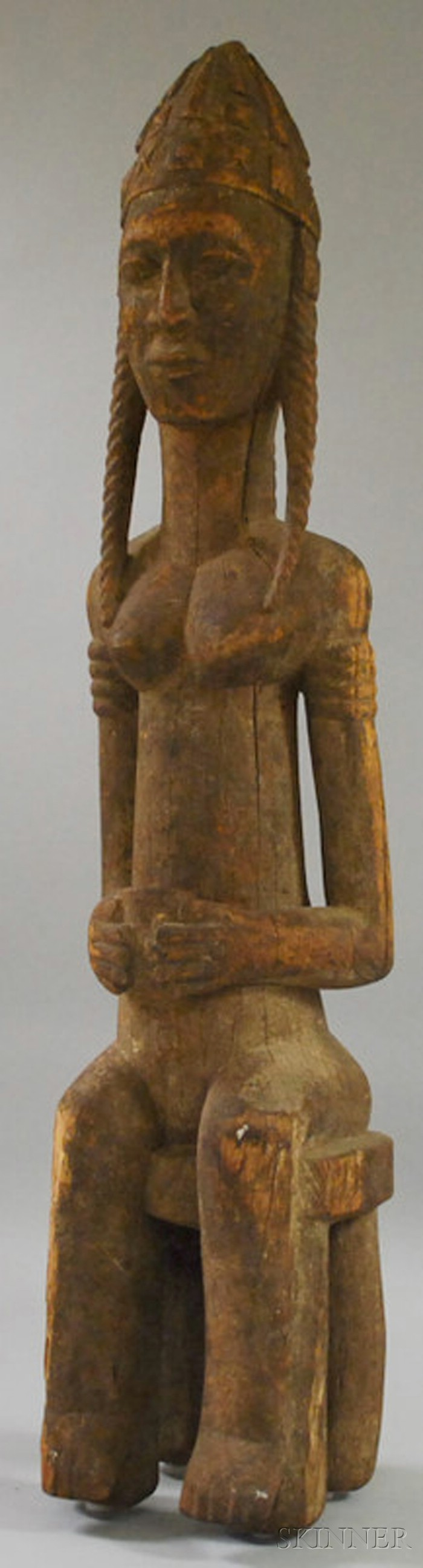 Bamana-style Carved Wooden African Female Figure
