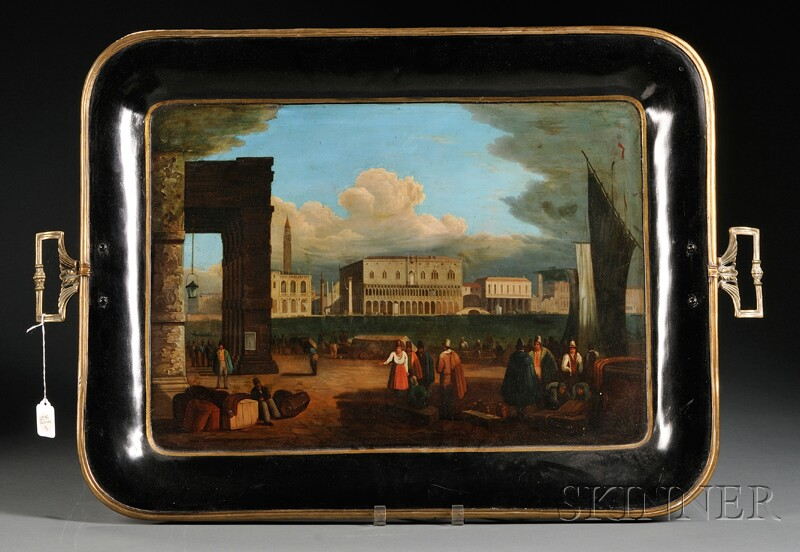 Large Painted Black Tray with Venetian Scene