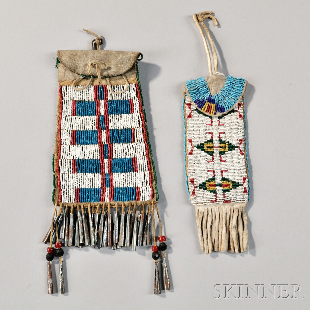 Two Plains Beaded Hide Pouches