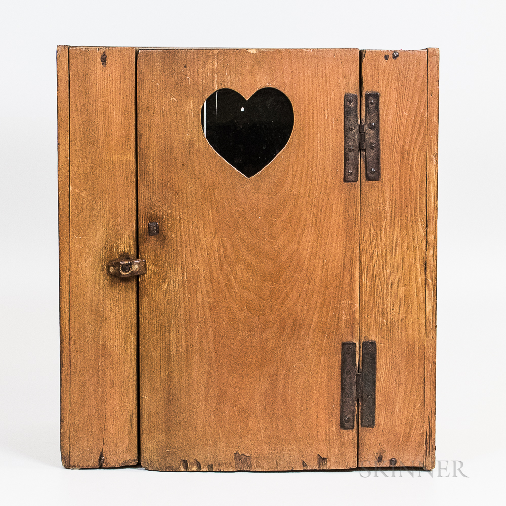 Small Country Glazed Pine Cupboard with Heart Cutout Door