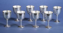 Eight Tiffany & Co. Sterling Goblets