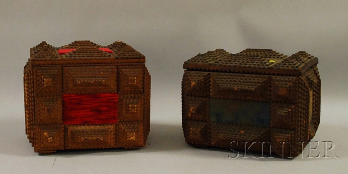 Two Tramp Art Notch-carved Wood Lidded Boxes