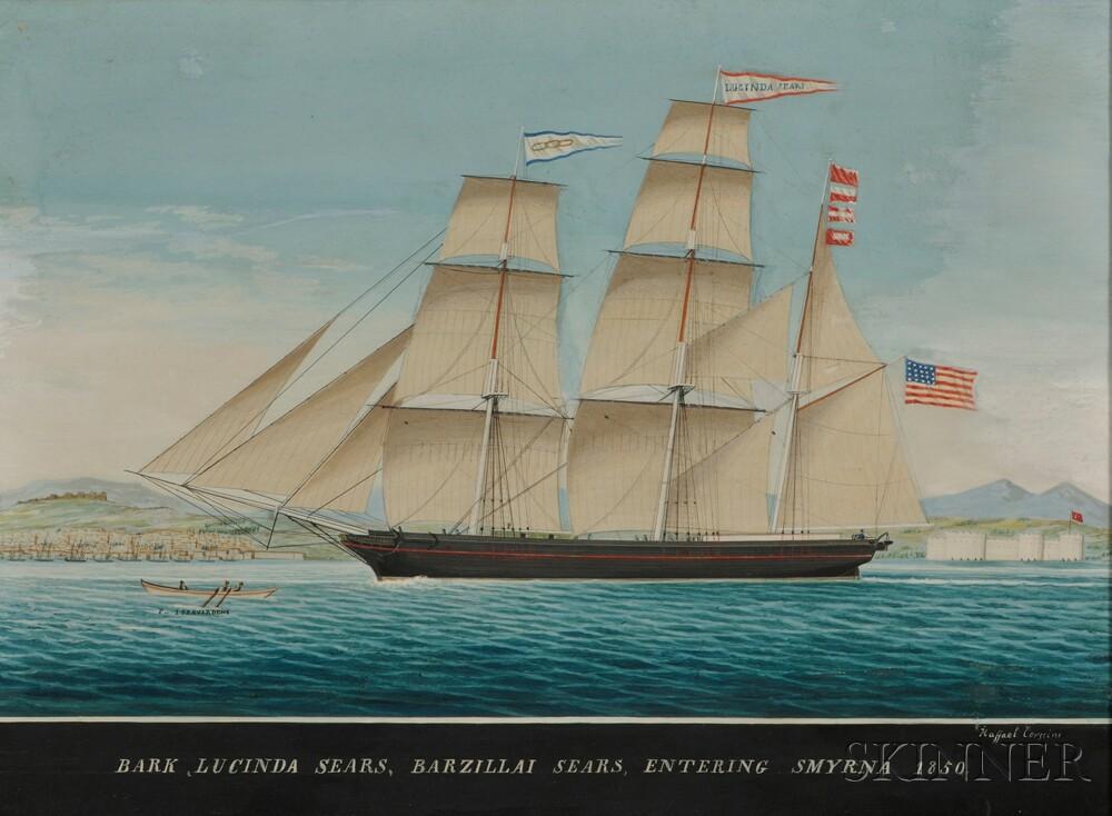 Raffael Corsini (Turkish, active Smyrna, 1830-1880)      Bark Lucinda Sears, Barziili Sears, Entering Smyrna 1850.
