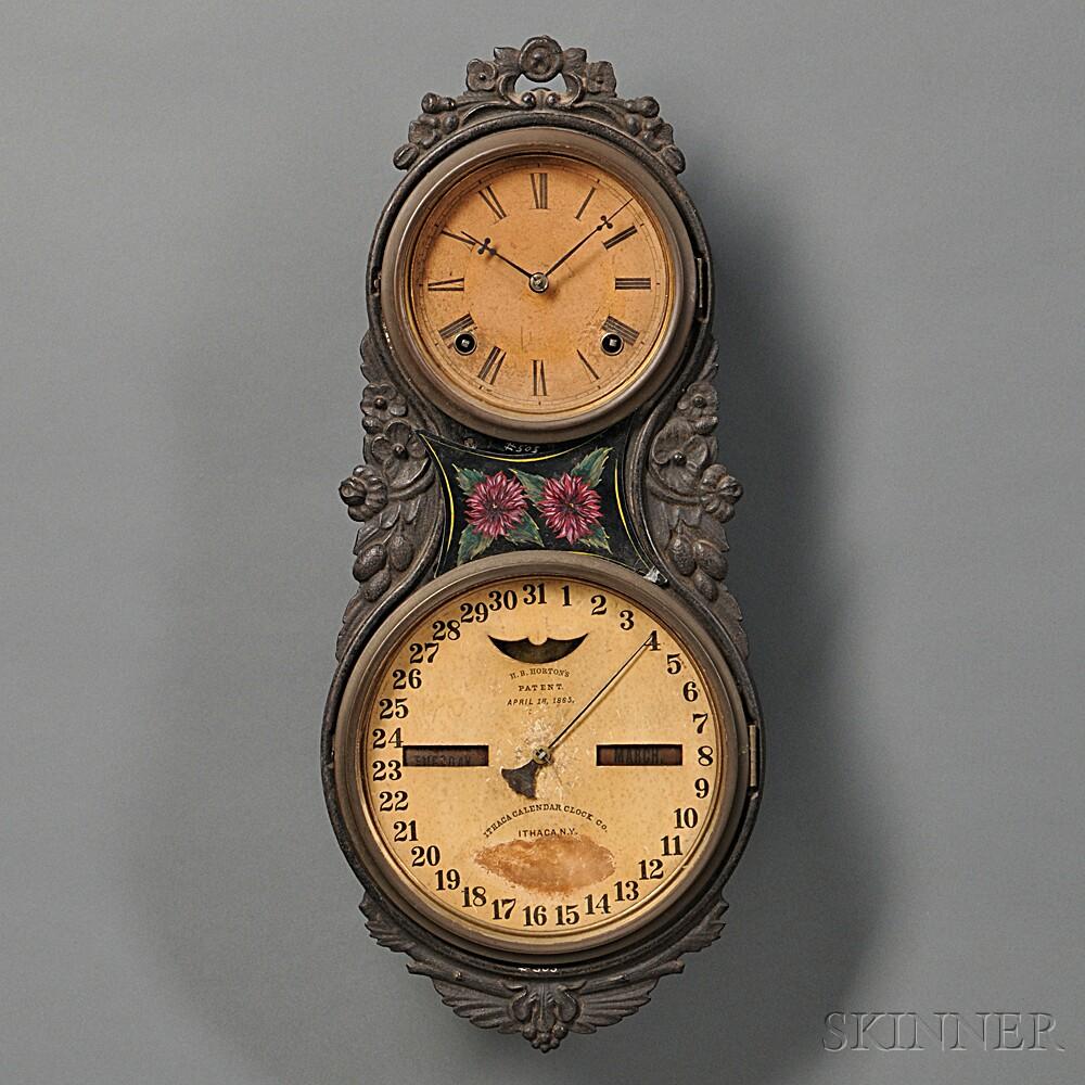 Large Iron Case Ithaca Calendar Clock