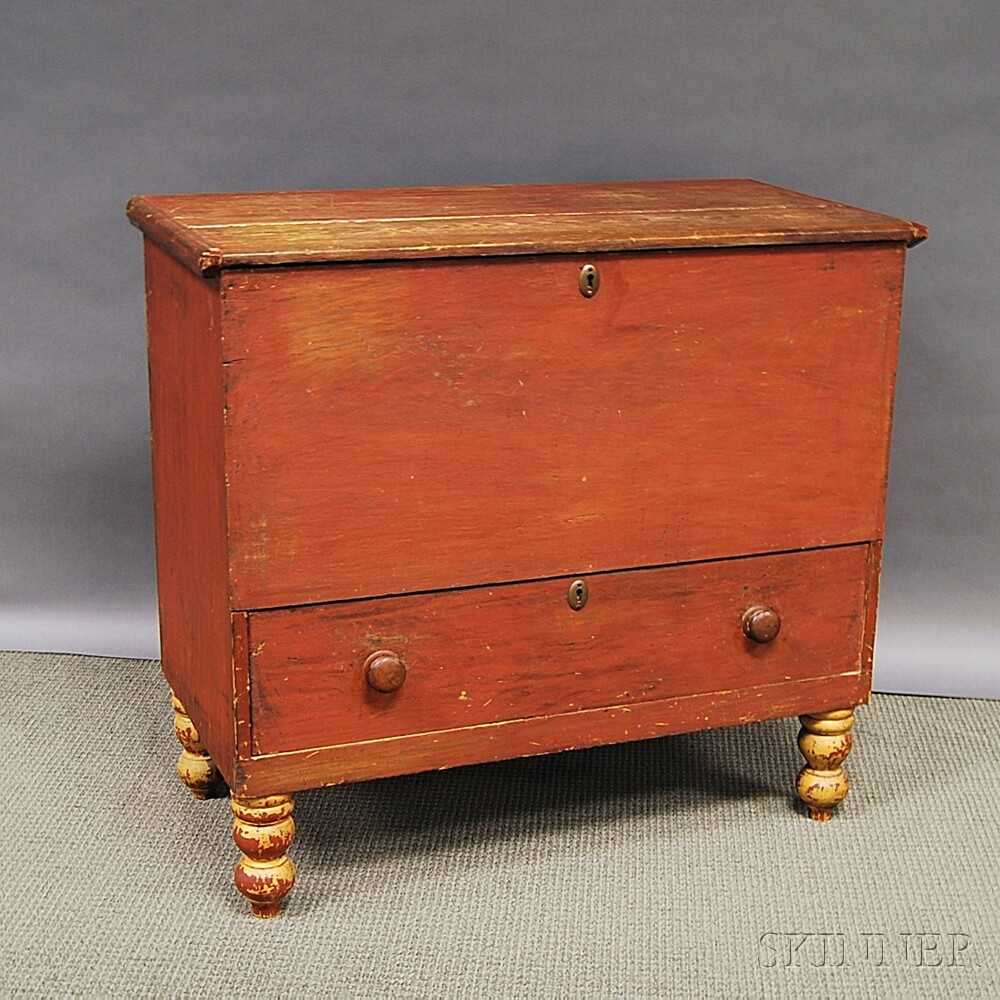 Red-painted One-drawer Blanket Chest