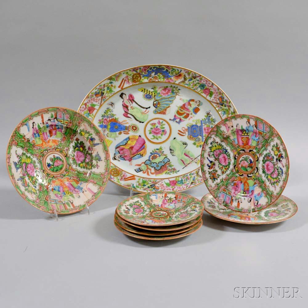 Eight Rose Medallion Porcelain Dishes