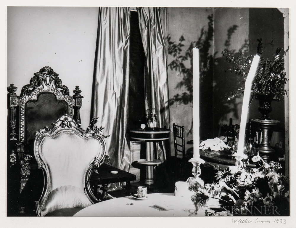 Walker Evans (American, 1903-1975)       Table Setting and Chairs, Muriel Draper's Apartment, New York