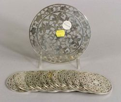 Set of Twelve Sterling Overlay Colorless Glass Coasters