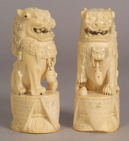 Pair of Carved Ivory Foo Dogs