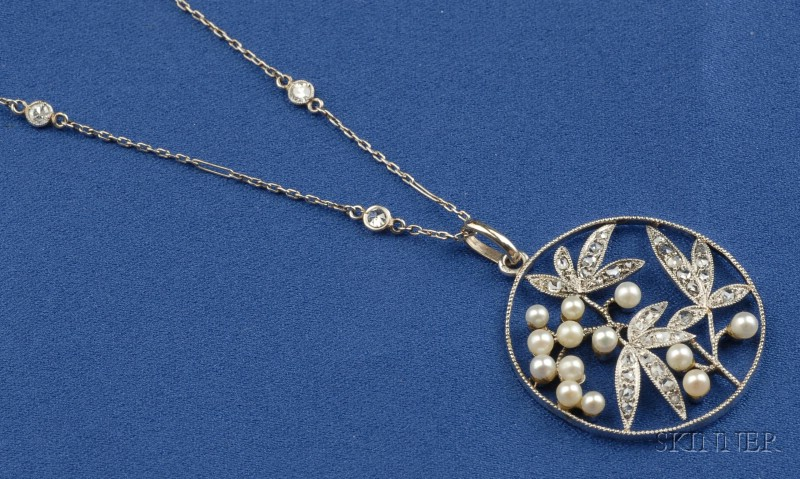 Platinum, Diamond and Seed Pearl Pendant Necklace