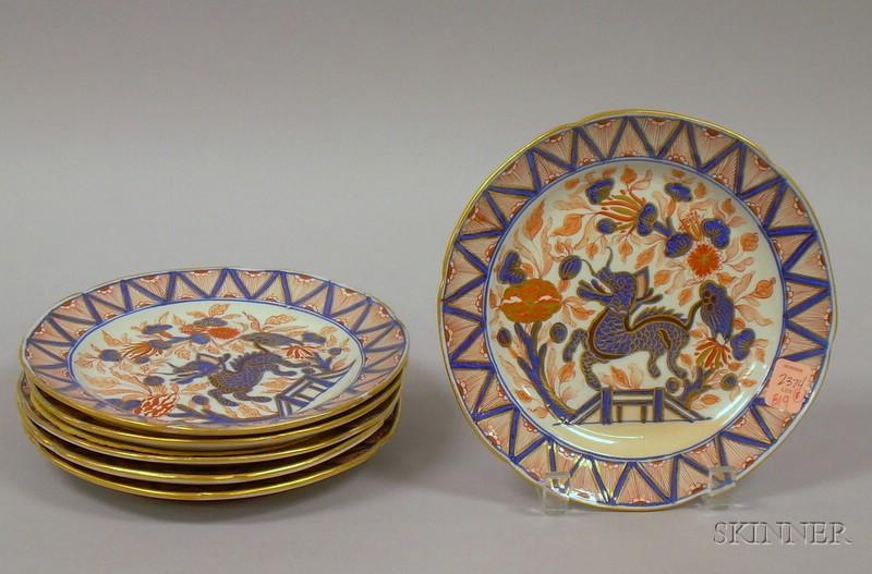Set of Six Turner Imari Palette Ironstone Plates