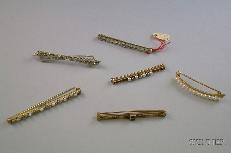 Six Assorted 10kt, 14kt, and 18kt Gold Bar Pins.