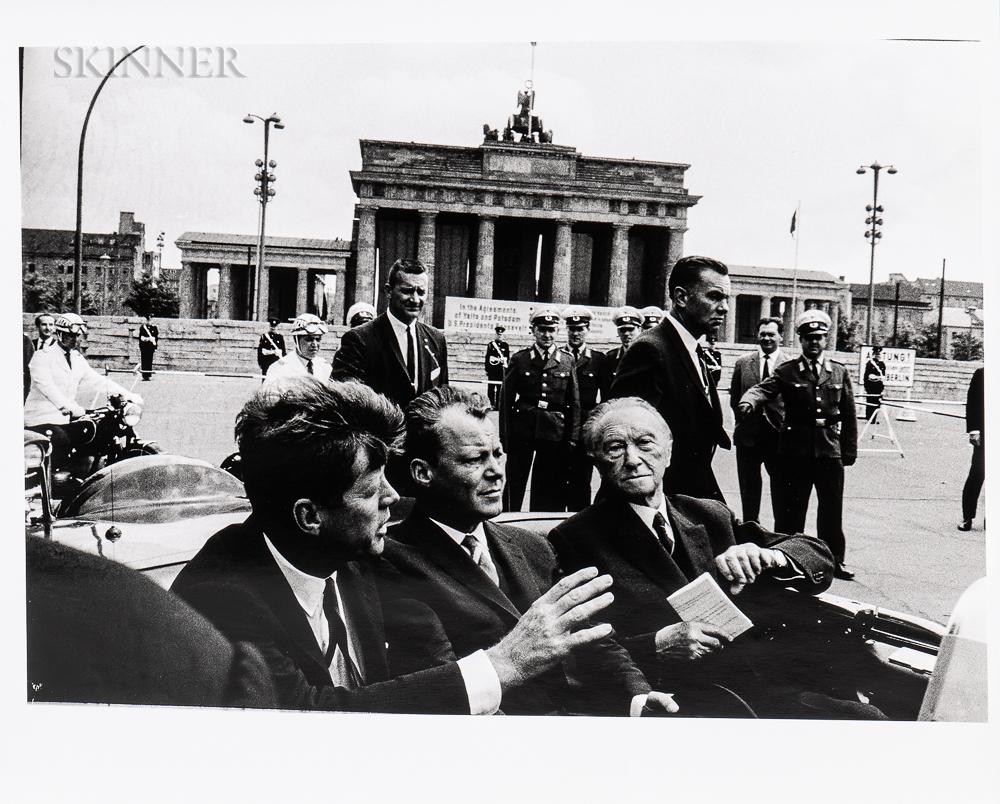 Will McBride (American, 1931-2015)  John F. Kennedy, Willy Brandt, Konrad Adenauer after visiting the Wall at the Brandenb...