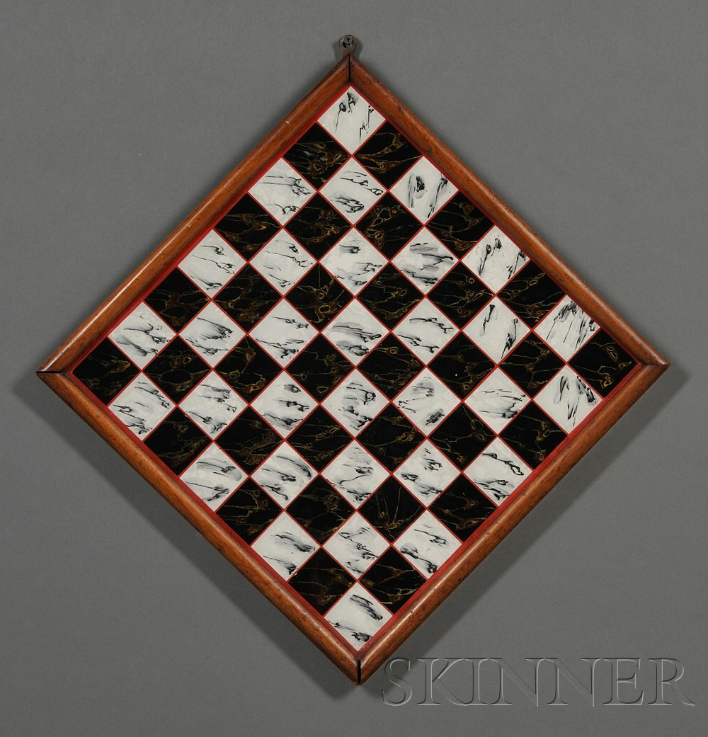 Faux Marble Reverse-painted Glass Game Board
