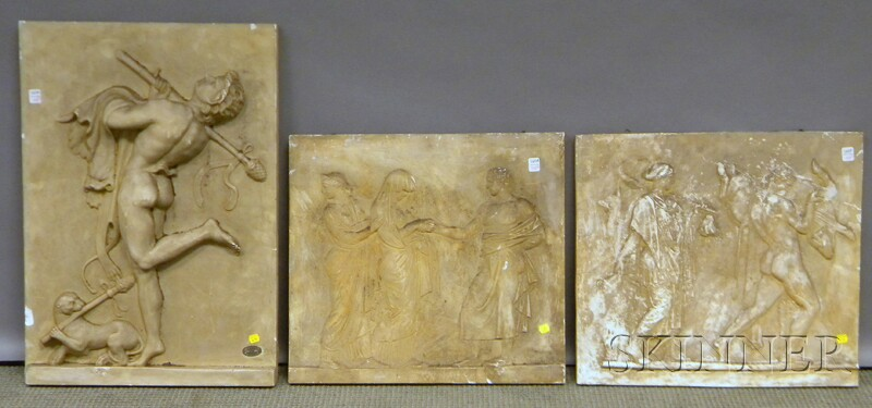 Three Classical Cast Plaster Relief Panels