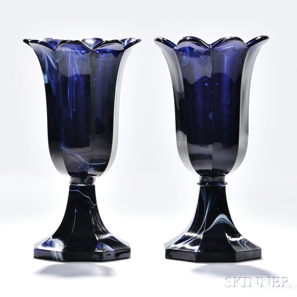 Pair of Marbelized Blue Pressed Glass Tulip Vases