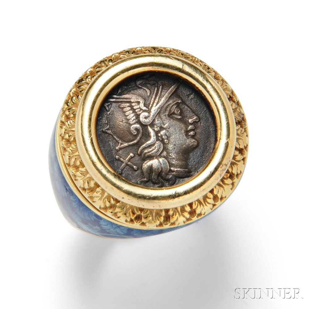 18kt Gold, Ancient Coin, and Enamel Ring