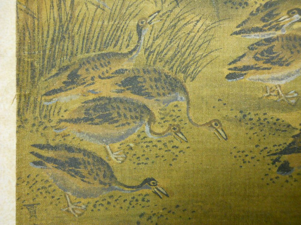 Painting Depicting Geese with Reeds