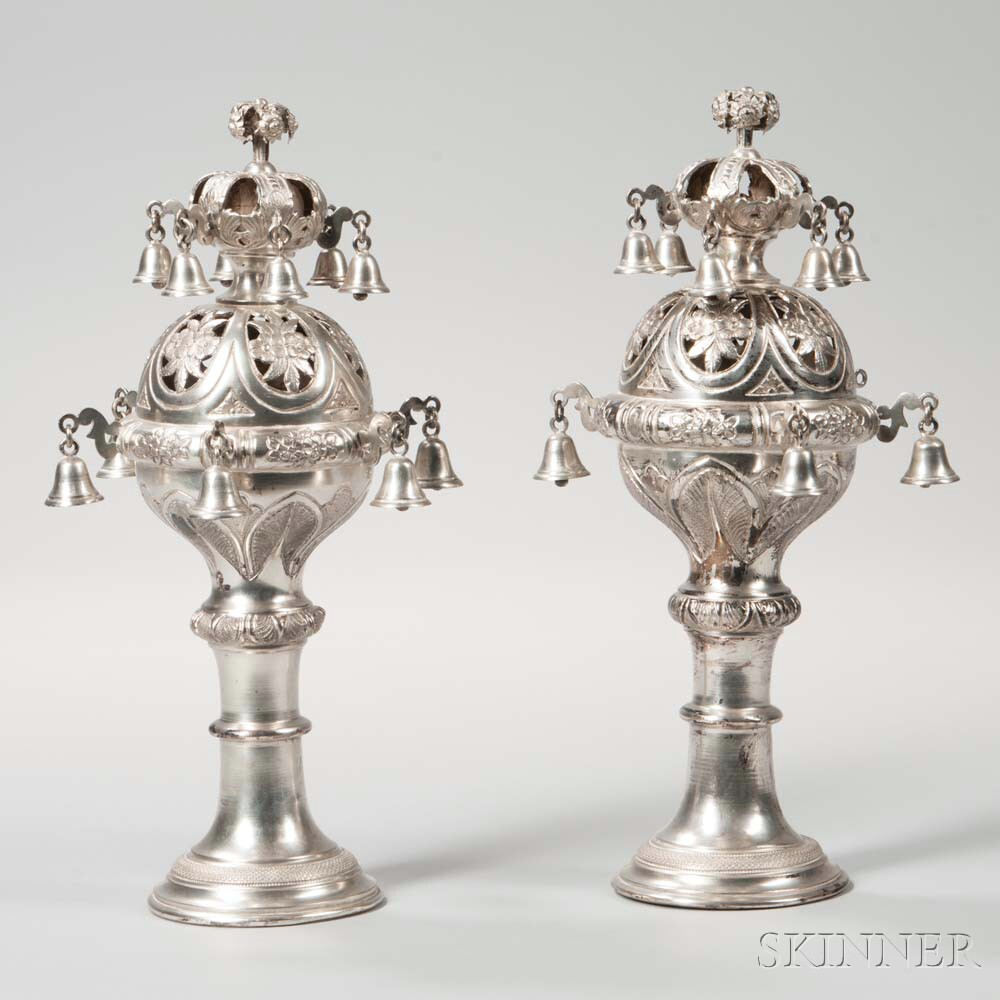 Pair of Austro-Hungarian Silver Torah Finials (Rimmonim)