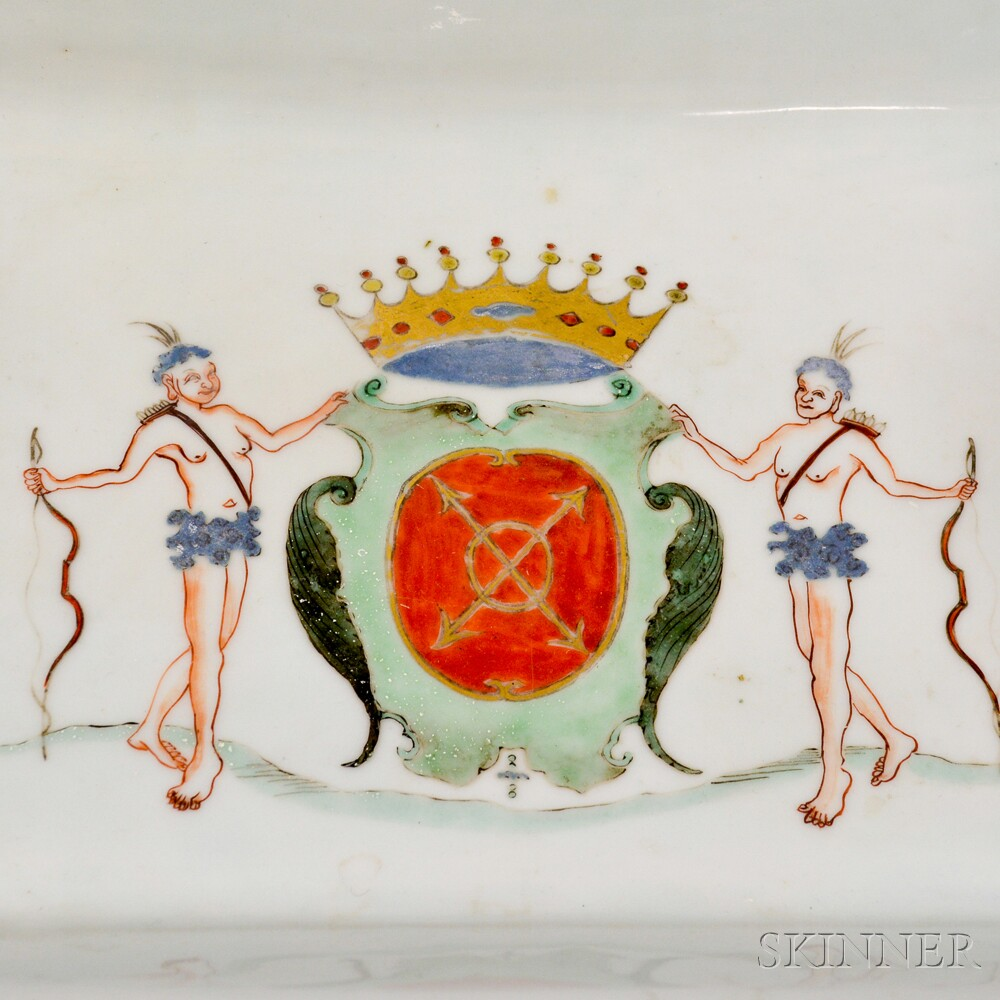 Armorial Chinese Export Porcelain Tray