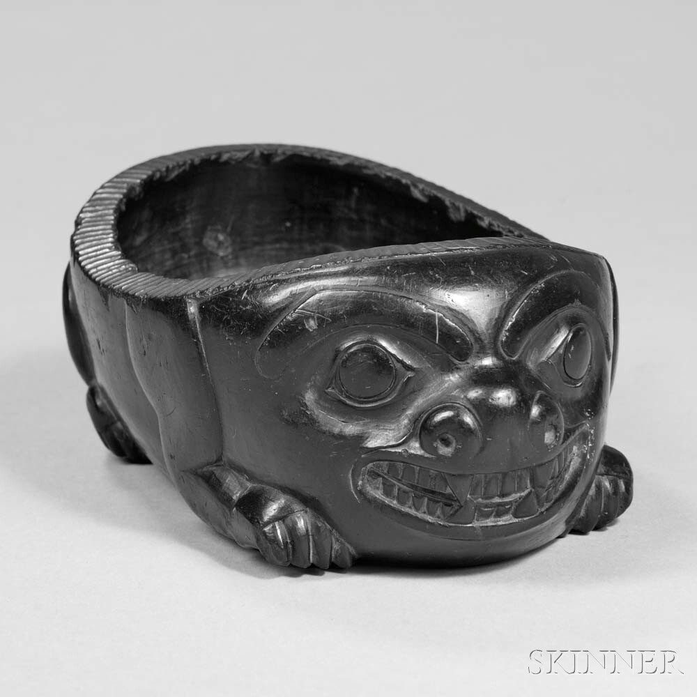 Rare Haida Argillite Grease Bowl