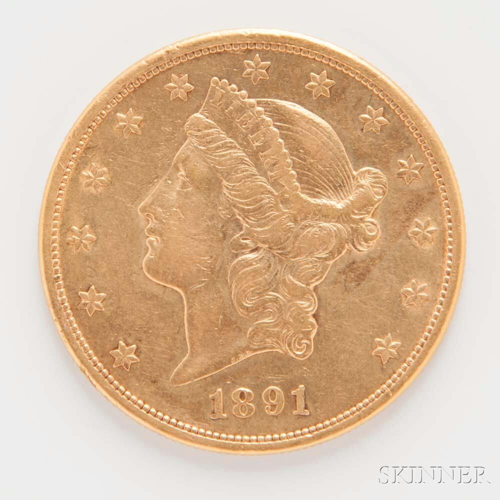 1891-S $20 Liberty Head Gold Coin.     Estimate $1,000-1,500
