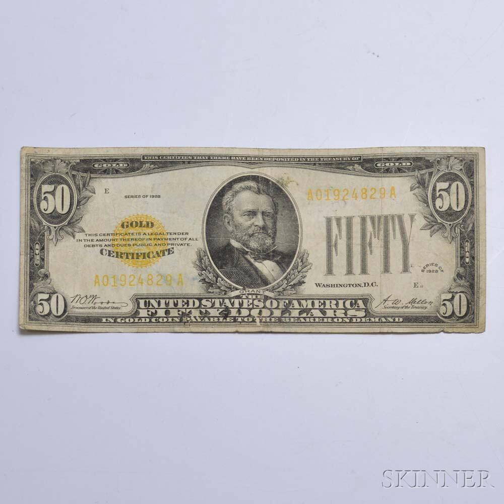 1928 $50 Gold Certificate.     Estimate $200-400