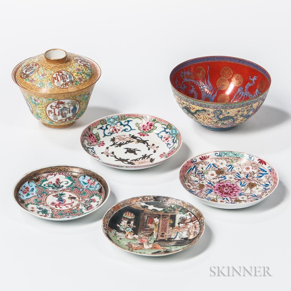 Six Export Porcelain Table Items