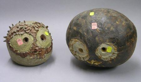 Two Studio Glazed Pottery Heads.