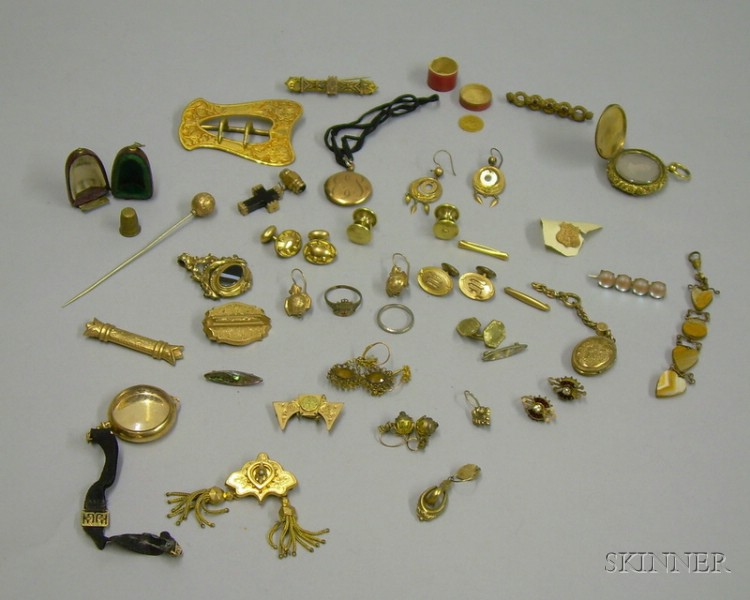 Group of Victorian Mostly Gold-filled Jewelry and an 1855 Small Liberty Head $1 Gold   Coin