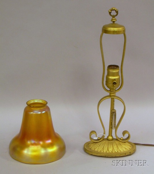 Brass Table Lamp with Iridescent Gold Art Glass Bell-form Shade.