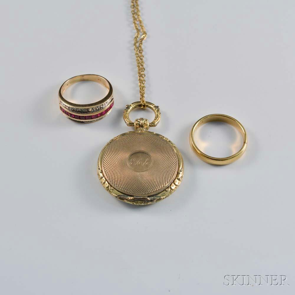 14kt Gold Gem-set Ring, a Gold-filled Band, and a Gold-filled Locket