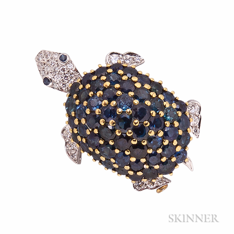 18kt Bicolor Gold, Sapphire, and Diamond Turtle Brooch