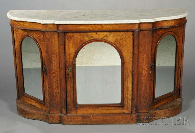 Provincial Walnut Inlaid Credenza with Marble Top