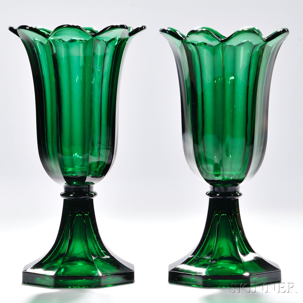 Pair of Green Pressed Glass Tulip Vases