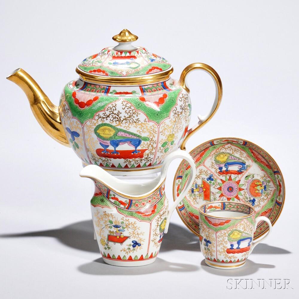 Coalport Porcelain Dragon in Compartments   Partial Teaset