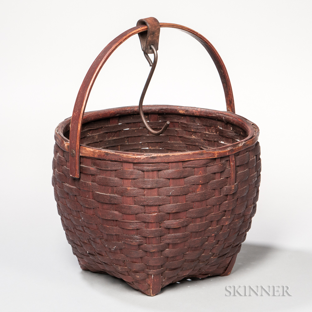 Red-painted Swing-handled Splint Basket